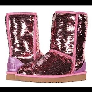 UGG Classic Short Pink Sequin Boots Size 6